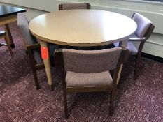 Lot - (2) 48 in. Diameter Wood Tables (8) Chairs (Room 310)