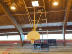 Lot - (2) Wood Backboards with Rim and Net, Ceiling Mounted (Gym)