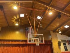 Lot - (2) Glass Backboards with Rim and Net, Ceiling Mounted (Gym)