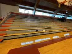 Lot - (58) 10 in. x 16 ft. Wood Benches Mounted on Permanent Bleachers (Gym)