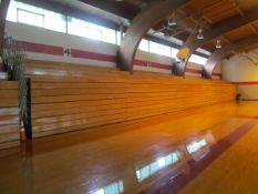Lot - (5) Hussey 16 ft. Long 11-Row Wood Telescopic Bleachers (Gym)
