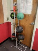 Lot - (5) Weighed Balls with Rack (Weight Room 105)