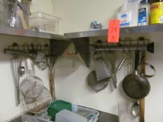 Lot - Misc. Items in Wash Area, to Include: Hanging Utensils, (4) Shelving Units, Utensils,