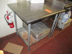3 ft. x 3 ft. (approx.) Stainless Steel Table, with Baking Trays (Upstairs Prep and Wash)