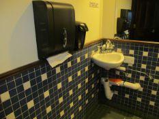 Lot - Restroom Fixtures, Toilet, Sink, Hand Wash Station, and Handicap Bars (Hallway)