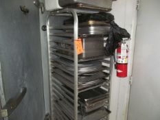 Lot - (1) Rolling Multi-Tier Cart, with Misc. Cooking Equipment to Include: Cooking Sheets, Food