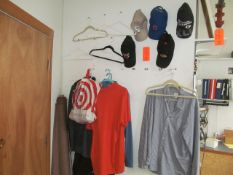 Lot - (5) Hats, Misc. Hanging Shirts, and Golf Club (Upstairs Office)