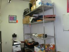 5-Tier Metro Shelf, with Contents to Include: Electronics, Tools, and Misc. Supplies (Upstairs