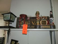 Lot - Assorted Decorations on Shelf to Include: Schlitz Lamp, Closed Sign, Fallstaff Sand Hourglass,