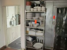 5-Tier Rack with Dishes, Serving Pieces, Misc. Pots, Coffee Maker, and Related Contents (Upstairs