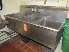 3-Basin Wash Sink (Upstairs Prep and Wash)