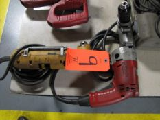 Lot - (2) Electric Angle Drills, (1) 1/2 in. Milwaukee, (1) DeWalt Model DW160 3/8 in. Right Angle