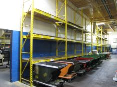 Sections of Pallet Racking to Include: (16) 18' Uprights, (88) 8' Horizontals, with Wooden