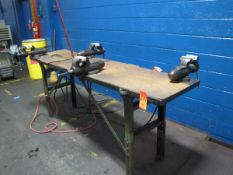 """Metal Workbench with (4) 4"""" Table Vises (Plant #1)"""