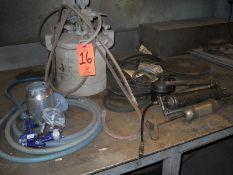 Lot - Paint Pot; with Agitator, Belts, Grease Guns