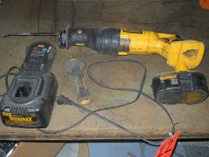 DeWalt Battery Powered Electric Reciprocating Saw; with Charger, Battery, Free Hand Grip Handle
