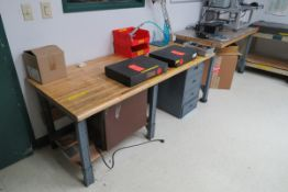 Shipping Office to Include: (6) Workbenches, Desk, (3) 4-Drawer Metal Vertical Filing Cabinets, (