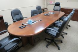 Conference Room Furniture to Include: 9 ft. Wood Conference Table, (2) Wood Hutches, Wood Table, (7)
