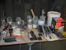 Lot - Paint Supplies, (3) Spray Guns; Paint Cans; Rollers; Strainers; Stirrers