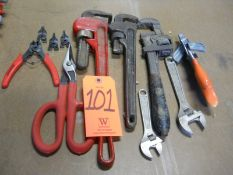 Lot - Pipe Wrenches, Snips, Adjustable Wrenches