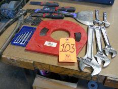 Lot - Scrapers, Adjustable Wrenches, Mini Screwdriver Set, Drain Snake, Allen Keys, Tape Measure;