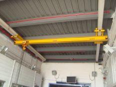 Harriman Material Handling Approx. 21' ft. Span 3-Ton Capacity Single Rail Bridge Crane With Chain