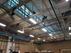 Gorbel 1/2-Ton Bridge Crane, approx. 25' span x 40'L runway, ceiling mounted, includes blue runway