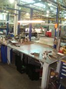"""Heavy Duty Steel Work Table/ Bench With Heavy Duty 4"""" in. Bench Vise & Overhead Fluorescent"""