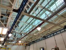 Gorbel 2-Ton Bridge Crane, ceiling mounted, includes blue runway, hoist not included.