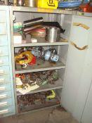 Stanley Vidmar Heavy Duty Single Door Shop Storage Cabinet With Contents of Assorted Chain Hoists,