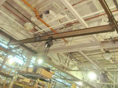 Approx. 22' ft. 1-Ton Capacity Single Rail Bridge Crane With 1-Ton Capacity Manual Chain Falls