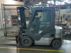 Nissan Model MYL02A20V 3,000 lb. Capacity Diesel Forklift With Fork Rotation Attachment, Enclosed