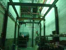 Approx. 29' ft. L x 11' ft. W x 12' ft. H. 500 lb.Capacity Single Rail Modular Self Supported Bridge