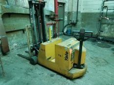 "Yale Model MCW030LCN24TV077 3,000 lb. Capacity Electric Walk Behind Lift Truck, 114"" in. Lift"