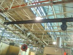Approx. 21' ft. Span 4-Ton Capacity Bridge Crane With (Qty 2) 2-Ton Capacity Chain Falls Hoists. (