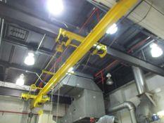 3-Ton Single Grider Underslung Bridge Crane, Wright Electric Cable Hoist, 20' Span, 30' Rail, 12'