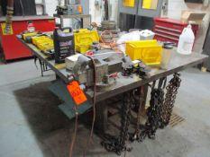 """5' x 7' x 2"""" Steel Welding Table with Bench Vise (Prep Room Near Door 28)"""