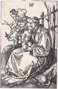 HANS SEBALD BEHAM: Die heilige Jungfrau mit dem Kind und einer Birne auf einer Rasenbank.