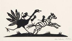 VARIA - SCHERENSCHNITT: Von einem Strauß verfolgtes Zebra mit Äffchen.