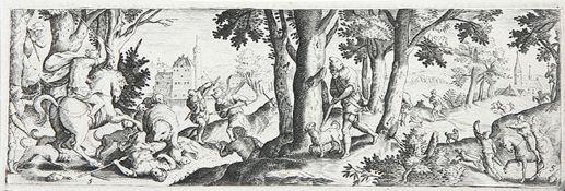 VARIA - JAGD: Hischjagd II und Fluss- bzw. Küstenlandschaften mit Bärenhatz, Hasen-, Stier- und and