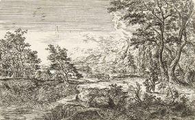 WILHELM VON BEMMEL: Landschaft mit Mann und Knabe.