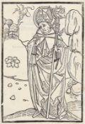 BUCHHOLZSCHNITTE: Augustinus von Hippo (Aurelius Augustinus) als Bischof.