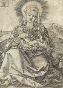 HEINRICH ALDEGREVER: Madonna mit Kind in einer Landschaft.
