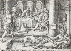 HEINRICH ALDEGREVER: Der arme Lazarus an der Pforte des Reichen - Der Reiche in der Hölle, Lazarus