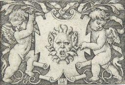 HANS SEBALD BEHAM: Maske von zwei Genien gehalten.