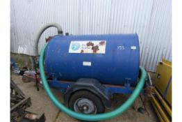 (Reserve Met)Towed Water Bowser With Petrol Engined Pump On Ball Hitch Coupling