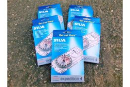 5 x Silva Expedition 4 classic baseplate compasses