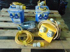 2 x Defender 110v-230v Step Up Transformers, 1 x Defender 110v 4 Gang Splitter & 1 x Bosch Jigsaw