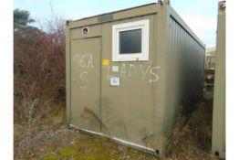 20FT ISO CONTAINER ABLUTION UNIT WITH 6 SHOWERS, WATER HEATER, STAINLESS SINK UNITS, ETC.