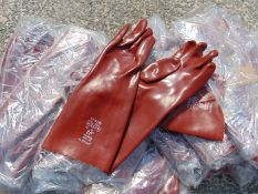 30 x Chemical & Solvent Rednek Red PVC Gauntlet Gloves